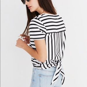 Open Back Black and White Striped top